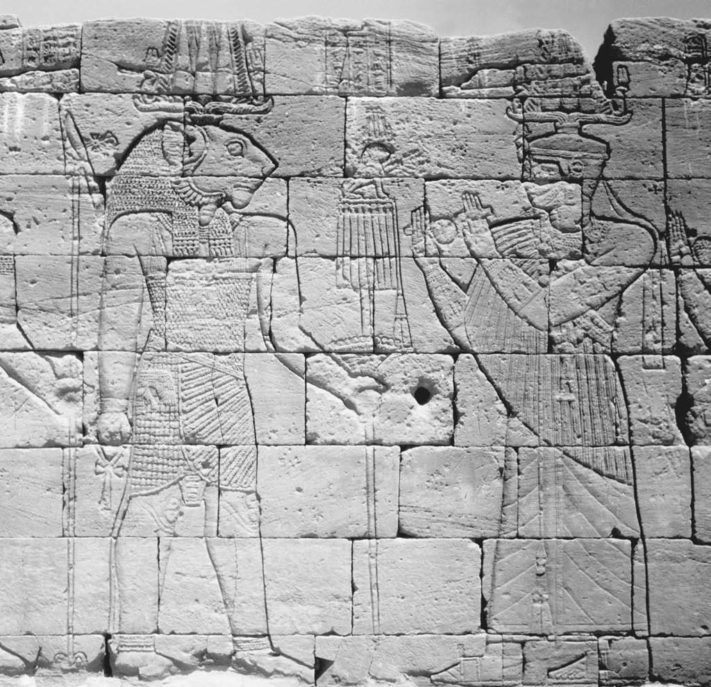 174 Naqadah and On the wall of the first-century BCE Temple of the Lions at Naga, in present-day Republic of the Sudan, the lion-headed god Apedemak is depicted receiving offering.