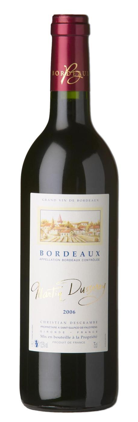 BORDEAUX AOC 2013 GRAND VIN DE BORDEAUX MARTIN DUSSEREY REF : BOR109 WINE: This wine is the result of a meticulous work, researching a perfect balance and a marriage between two varieties Merlot and