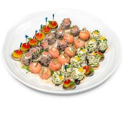 dipped strawberries decorated with Chocolate drizzle) Canape Party Tray (Sorted canapes)