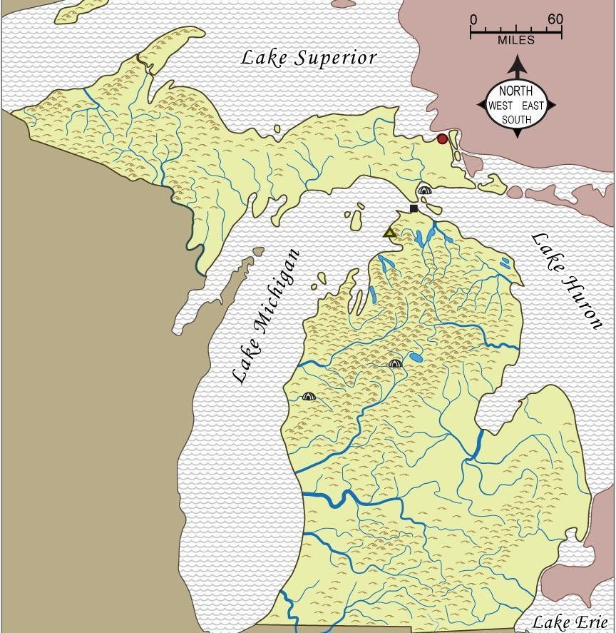 Retell Alexander s Story! The map shows six of the places that Alexander visited during his year with the Ojibwa. The box shows names for places that he visited (starting in the north). s. On the map, label each symbol with a name.