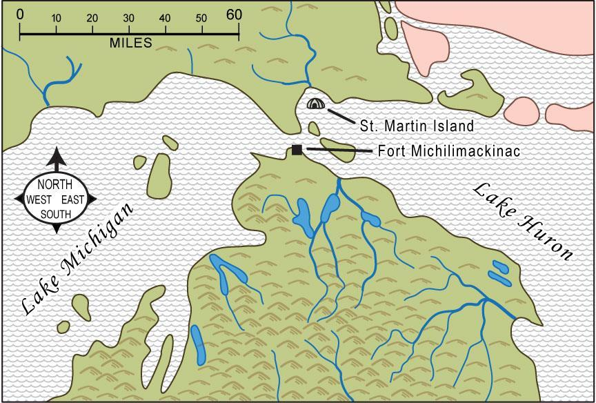 St. Martin Island is in which Great Lake? What two directions did Alexander travel to get to St. Martin Island? (Use the compass rose) About how far did he have to paddle?