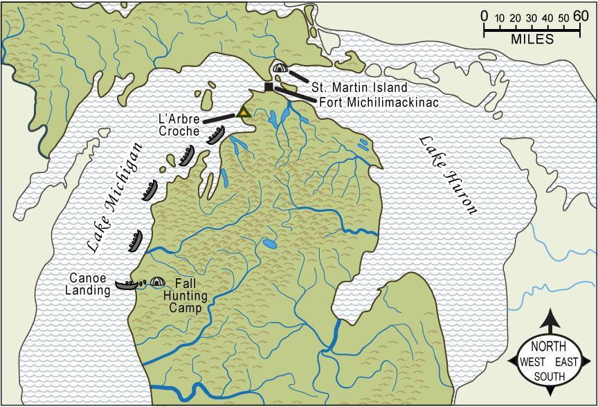 Fort Michilimackinac is in between what two Great Lakes? About how many miles do the canoes travel between the fort and L Arbre Croche? (Use the scale.