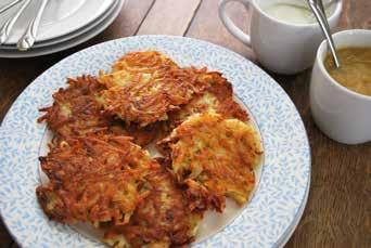 Potato Latkes 2 cups russet potatoes, peeled and grated ¼ cup onion, grated (pour off excess juice from measuring cup and add more onion) 1 egg 2 Tbsp.