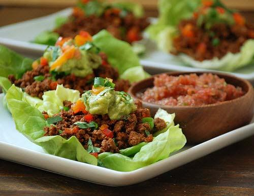 Ketogenic Meal Examples Dinner - Paleo Lamb Tacos 3 oz. ground grass fed lamb + 1 Tbsp.
