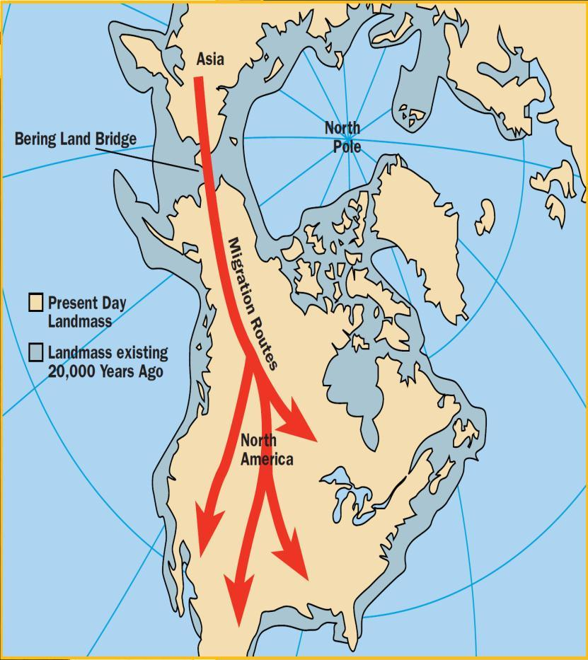 Early Migration Migration Movement of people from one place to another. The first people migrated to North America between 30,000 BC to 10,000 BC.