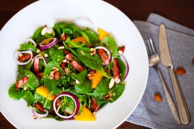 Cleansing Leftover Salad Serves: 2 280g cooked Ham, shredded 1 bag Salad Leaves 50g toasted Mixed Nuts 25g Dates, chopped a few Clementine segments 1 Onion, in rings Dressing 1 tbsp Olive Oil 2