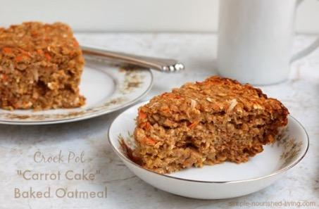 Carrot Cake Baked Oatmeal 2 large eggs 1 cup unsweetened applesauce 2- to 3-quart 20 mins 4 hrs 4 hrs, 20 mins 8 1 cup skim milk (I used vanilla coconut milk beverage) ½ cup brown sugar 1 teaspoon
