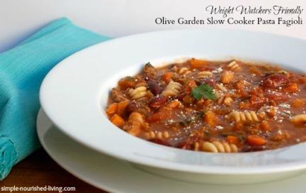 Olive Garden Pasta Fagioli 1 pound extra lean ground beef, browned and drained 1 cup chopped onion 1 cup chopped carrots 6- to 7-quart 30 mins 7 hrs 7 hrs, 30 mins 10 ½ cup chopped celery 1 can (14