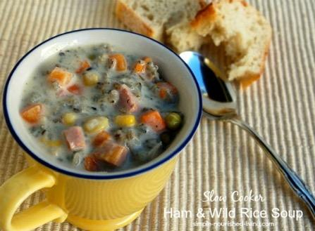 Ham and Wild Rice Soup 2 cups diced cooked ham ½ cup chopped onion 4-quart 15 mins 6 hrs 6 hrs, 15 mins 8 ¾ cup uncooked wild rice 1 package (16 ounces) frozen mixed vegetables 3 cups water 2 cups