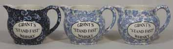 25ins tall, all over Dark Blue & White, GRANT S STAND FAST WHISKY Calico Burleigh Ware pm, Mint 233. GRANT S 3.