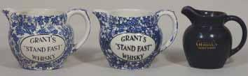 ins tall, all over Light Blue & White GRANT S STAND FAST WHISKY Burleigh Ironstone Minaret pm, Mint 235. GRANT S 3.