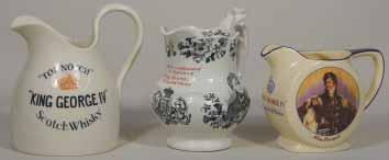 GRANT S 6ins tall, ASK FOR GRANT S INVERCAULD SCOTCH, to 2 sides, colourful picture of Victorian Lady under spout, no pm, A rare early jug, Very R$1500 (1750-2500) 256. GREERS 4.