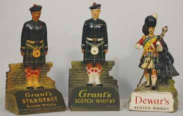 5ins wide, plastic, raised letters to both sides, WATNEYS barrel, crazing all over, R$40 (50-75) 6. KING GEORGE IV 8ins tall, plastic, KING GEORGE IV OLD SCOTCH WHISKY, R$50 (60-90) 7.