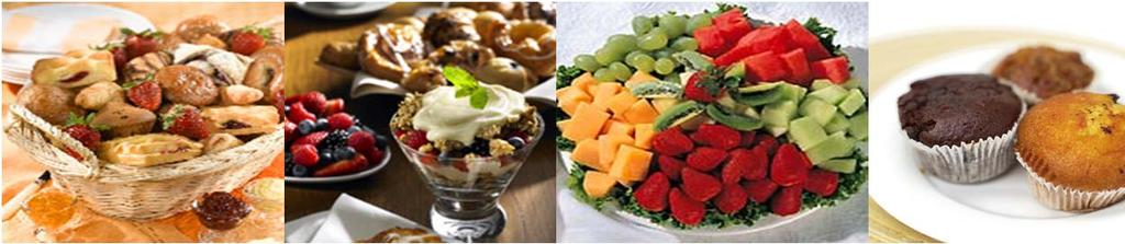 Breakfast Bites and Mid Morning Breaks minimum 10 people healthy choice $6.95 fresh cut fruit, low fat yogurts with whole grain bagel, low fat cream cheese, Becel margarine and preserves.