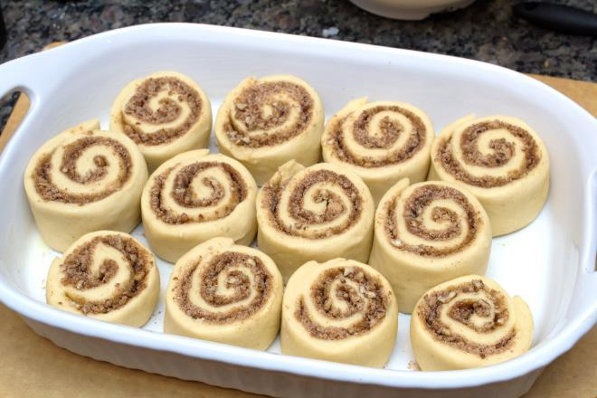 Maple Pecan Cinnamon Rolls For the filling: 3/4 cup brown sugar, packed 1/4 cup sugar 3/4 cup chopped pecans 2 tsp cinnamon 1/8 tsp salt 1 tbs butter, melted For the dough: 3 cups all-purpose flour 3