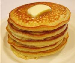 Pancakes 3/4 cup milk 2 tbswhite vinegar 1 cup all-purpose flour 2 tbs white sugar 1 tsp baking powder 1/2 tsp baking soda 1/2 tsp salt 1 egg 2 tbs butter, melted