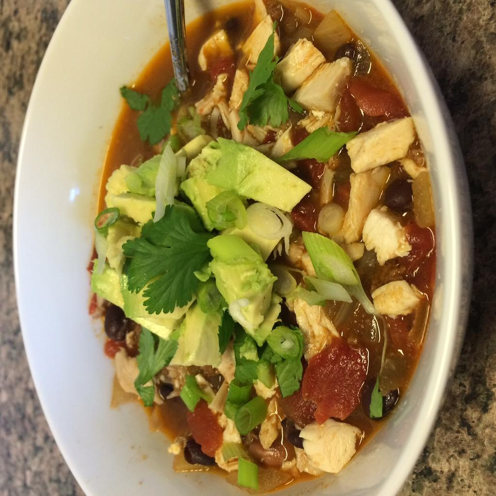 Chicken Tortilla Soup 16 oz chicken (free range, organic), cooked and shredded or chopped 32 oz vegetable broth (low sodium, organic) 1 can fire roasted diced tomatoes (Muir Glen) 1 can pinto beans,