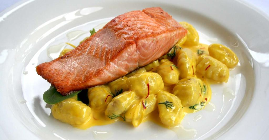POTATO GNOCCHI WITH PAN FRIED SALMON AND CREAMY SAFFRON AND LEMON SAUCE PREP...0:10 COOK...0:40...7 DIFFICULTY...MEDIUM SERVINGS.