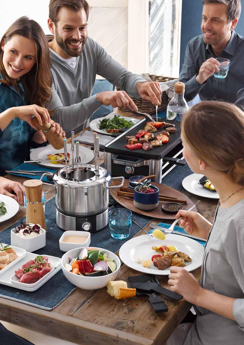 Invite, cook, celebrate. Gather everyone around one table. LONO FAMILY & FRIENDS with WMF Dining is more fun together. Fondue, raclette and electric table grills are a big hit for social gatherings.
