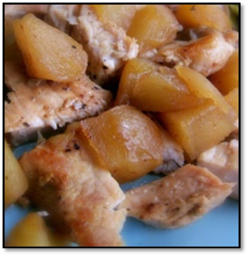 Crock Pot Apples & Pork Chops 5-6 Granny Smith Apples, peeled and cubed 4-6 boneless pork chops 2 TBS butter ¼ cup brown sugar, packed 2 tsp cinnamon 1 tsp nutmeg Instructions Heat skillet over