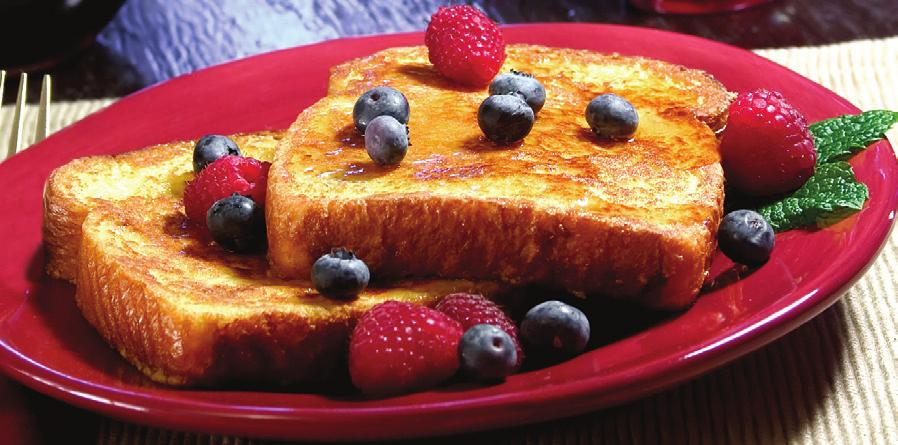FRENCH TOAST Makes 8 servings Serving Size: 1 slice Tip: This recipe is great topped with fresh fruit. Serve with cold nonfat or low-fat milk.