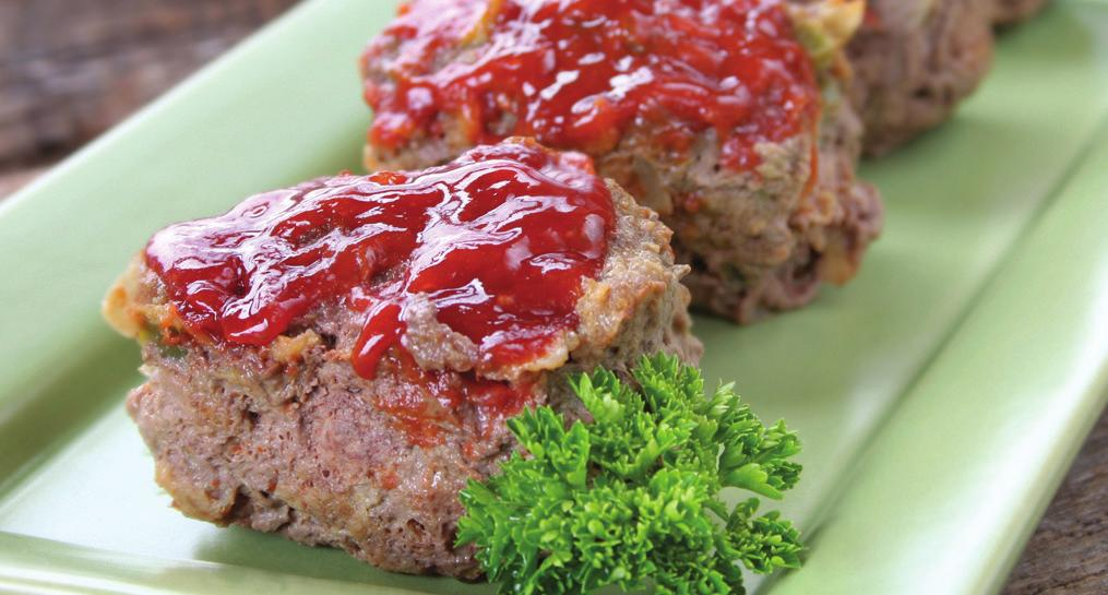 MINI MEATLOAVES Makes 5 servings Serving Size: 1 mini loaf 1 pound lean or extra-lean ground beef or ground turkey 1½ cups salsa, divided in half 1 egg, lightly beaten 1/4 cup dried bread crumbs