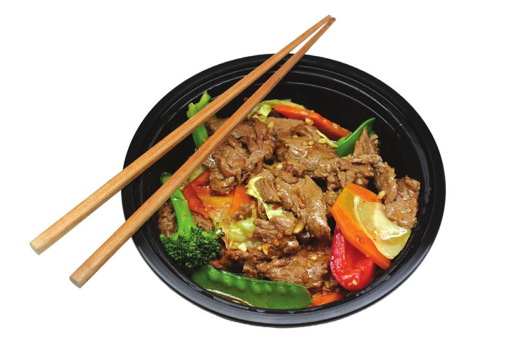BEEF STIR-FRY Makes 6 servings Serving Size: 2/3 cup over 1 cup rice Tip: Leftover lean meat, poultry, fish or tofu can be substituted for beef.