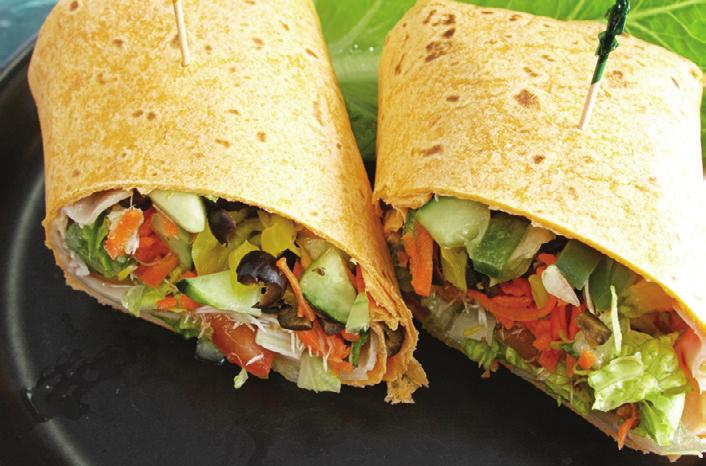 SANDWICH WRAPS Makes 1 wrap Serving Size: 1 wrap Start with a whole-wheat tortilla Choose 1 tablespoon of a spread Low-fat mayonnaise Low-fat sour cream Low-fat salad dressing Hummus Mustard Choose 1