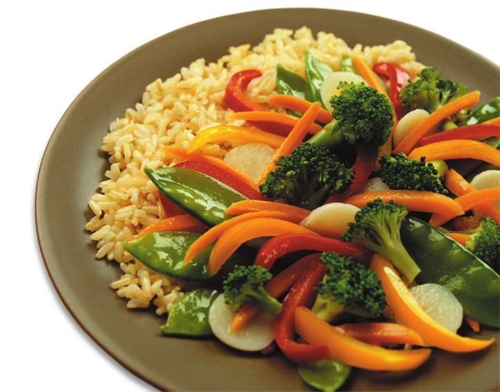 SUPER STIR-FRY Makes 2 servings Serving Size: 1 cup Choose 5 vegetables (1/2 cup of each) Onion Broccoli Celery Carrots Peppers Mushrooms Squash Zucchini Cauliflower Choose 1 sauce (about 1/4 cup)