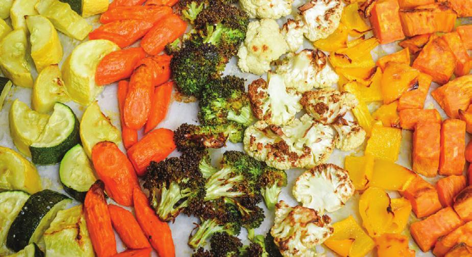 OVEN-ROASTED VEGETABLES Serves (depends on amount prepared) Serving Size: approximately 1 cup (as a side) Prep Time: Depends on vegetables, approximately 15 minutes Cook Time: Varies with vegetables,