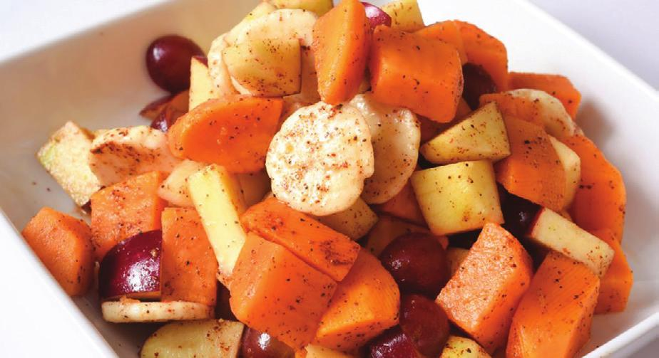 FRUIT CHAAT Serves 6 Serving Size: 3/4 cup Prep Time: 20 minutes Total Time: 20 minutes 2 medium bananas, peeled and sliced 1 medium apple, chopped into small pieces 1 mango, peeled and cut into