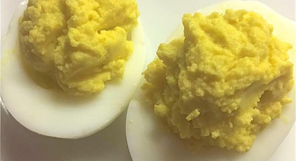 OLIVE OIL DEVILED EGGS Serves 12 Serving Size: 2 egg halves (one whole egg) Prep Time: 20 minutes Total Time: 20 minutes 1 dozen boiled eggs, peeled 1 tablespoon Dijon mustard 1 teaspoon white
