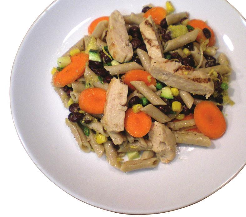 CHICKEN PASTA SALAD Makes 7 servings Prep Time: 30 minutes Cook Time: 10-12 minutes Nutrition information Per Serving 230 calories 4.