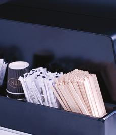 For table top models, the cup dispenser can be placed on the service counter and stays in place thanks to rubber feet.