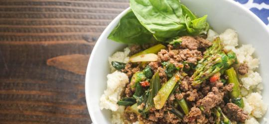 Thai Basil Ground Beef Bowl Prep Time: 10 Min Cook Time: 15 Min Total Time: 25 Min Note: This recipe has extra servings for planned leftovers.
