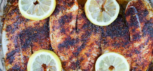 Baked Blackened Tilapia Prep Time: 5 Min Cook Time: 15 Min Total Time: 20 Min Note: This recipe has extra servings for planned leftovers. SERVINGS: 5 Serving Size: 6 oz.