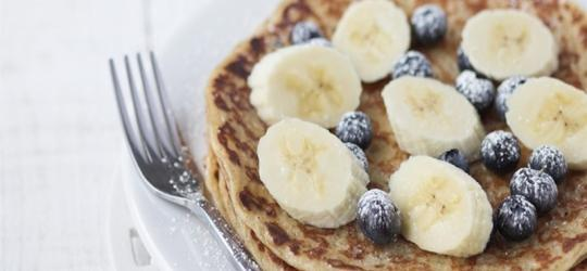 Oatmeal Protein Pancakes Prep Time: 5 Min Cook Time: 10 Min Total Time: 15 Min SERVINGS: 4 Serving Size: 4 pancakes Calories 286 Calories from Fat 39 Total Fat 4g 7% Saturated Fat 1g 5%