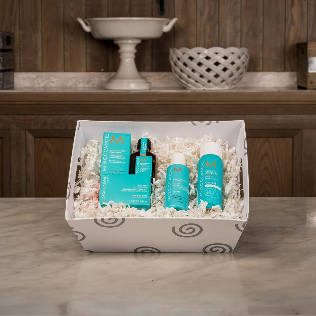 MOROCCANOIL BASKET Luminous Hairspray Moroccanoil Light Treatment Body Buffet Fleur de Rose Rose Petal Exfoliate Body Souffle