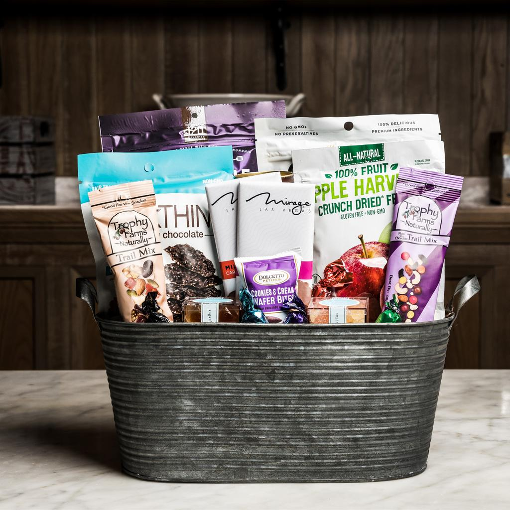VIP AMENITY 150 Assorted Sugarfina Candy Cubes Natural Nuts & Chocolate Trail Mix Chocolate Chip Cookie Chips, Bark Thins Dark Chocolate Mint Assorted Chocolate Bars