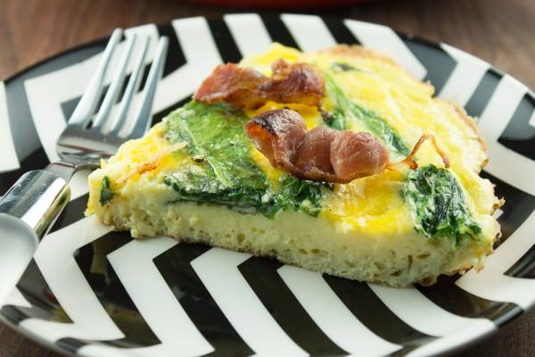 Week Plan Recipes Week of April 01 - April 07 Bacon and Spinach Frittata Servings 4 Total Time: 35 minutes Cook Time: 35 minutes Calories 419 Carbohydrate 4.2g Protein 28.7g Fat 32.