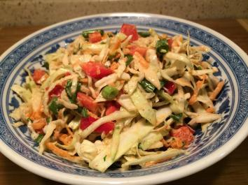 Paleo Asian Cabbage Salad Servings 4 Total Time: 10 minutes Cook Time: 10 minutes Calories 62 Carbohydrate 14g Protein 3g 1 head(s) cabbage(s), green red or green (or 1/2 of each), thinly