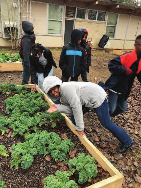 are proud of what their hard work accomplished in their vegetable garden!