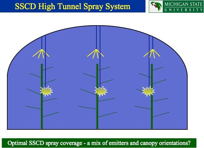 Proceedings of the 3rd Conference Innovations in Fruit Growing, Belgrade, 2011. of high tunnel space by eliminating the need for a wide tractor alley for pesticide spraying. Figure 8.