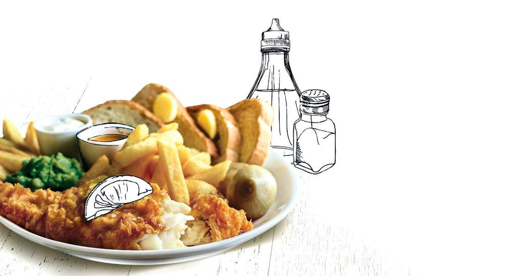 OUR ULTIMATE FISH & CHIPS FAMOUS SINCE THE 1860 S IT S ONE OF BRITAIN S FAVOURITE DISHES AND WE ARE PROUD OF OUR FISH & CHIPS AS WE USE ONLY THE FINEST QUALITY HAND-BATTERED COD FILLETS OUR ULTIMATE