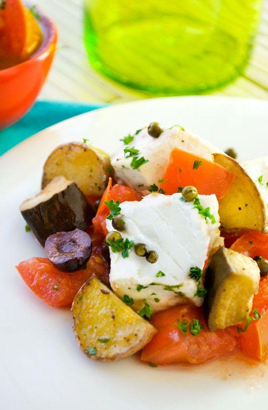 Roasted Halibut Here s a fish recipe that makes roasted halibut a rich and hearty dinner. A flavorful tomato sauce is livened up with anchovies, capers and olives.