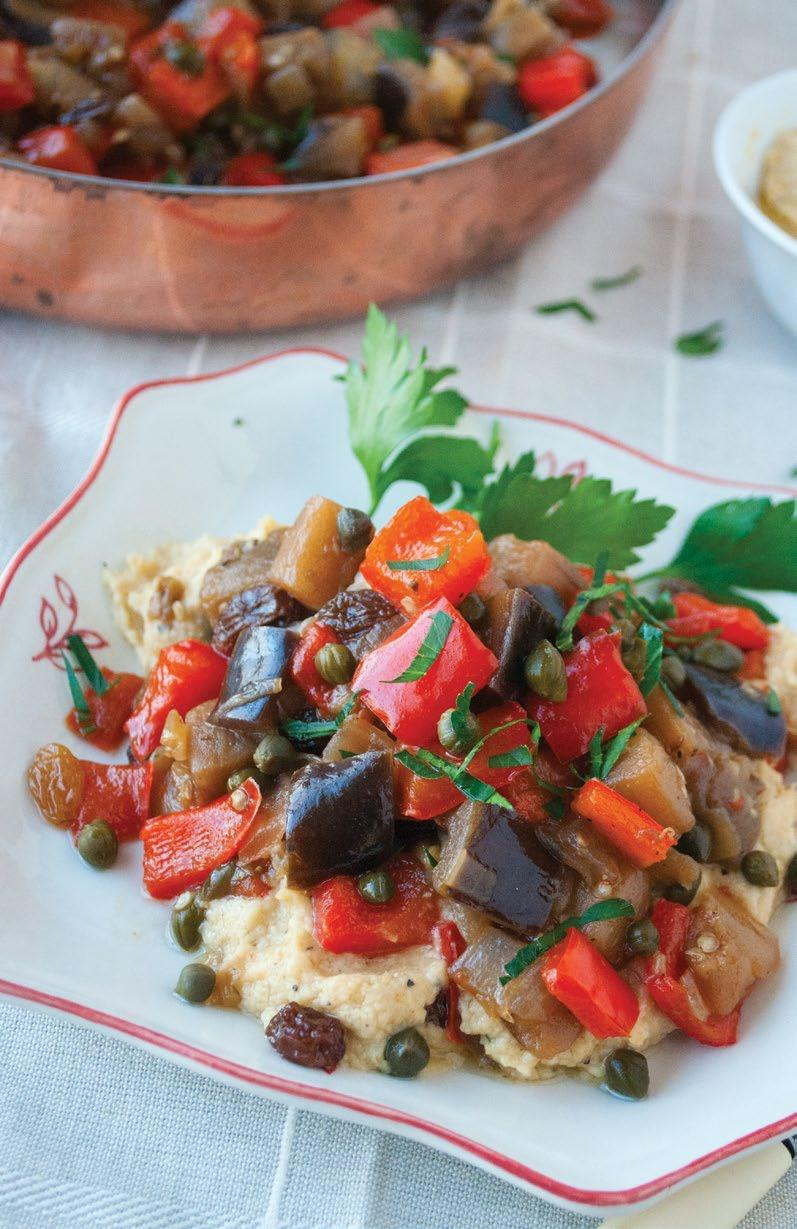 Eggplant Caponata An easy appetizer recipe, eggplant caponata pairs nicely with whole wheat crostini or crackers.