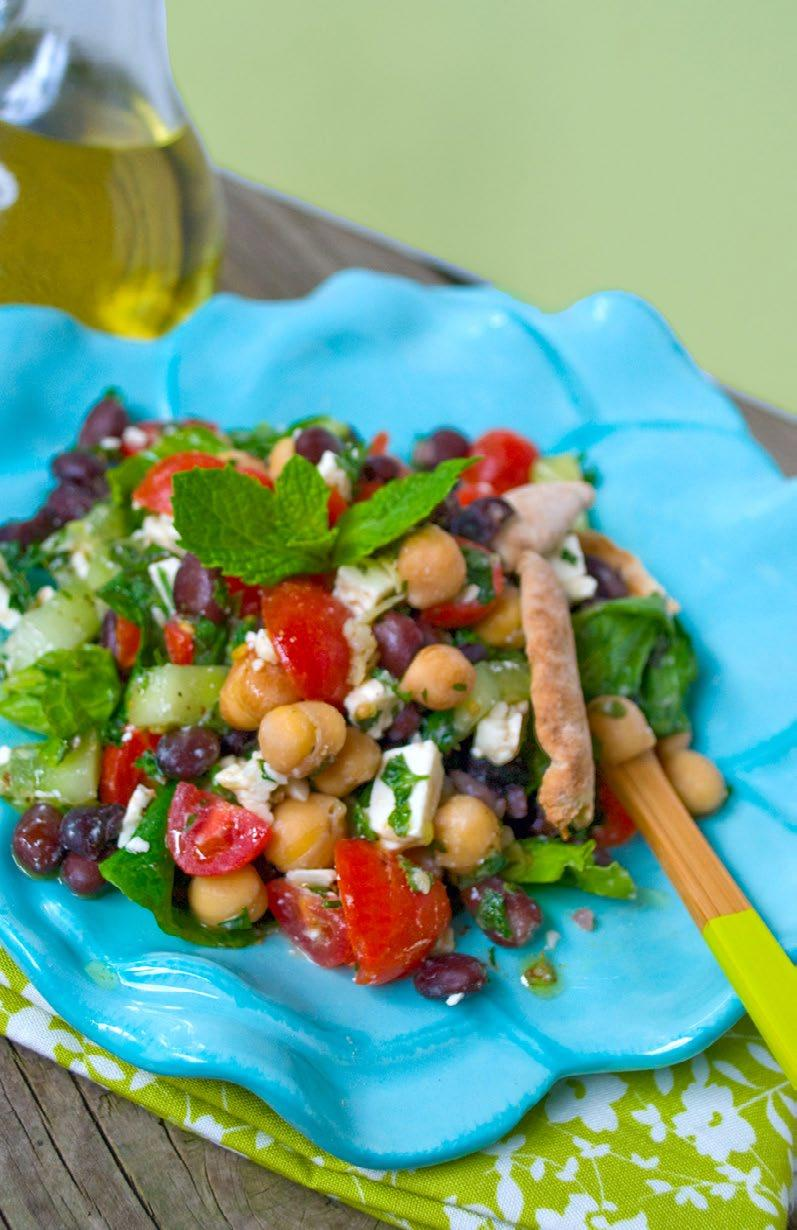Mediterranean Bean Salad High-protein beans, fresh tomatoes and herbs, and healthy olive oil make this Mediterranean bean salad a tasty lunch.