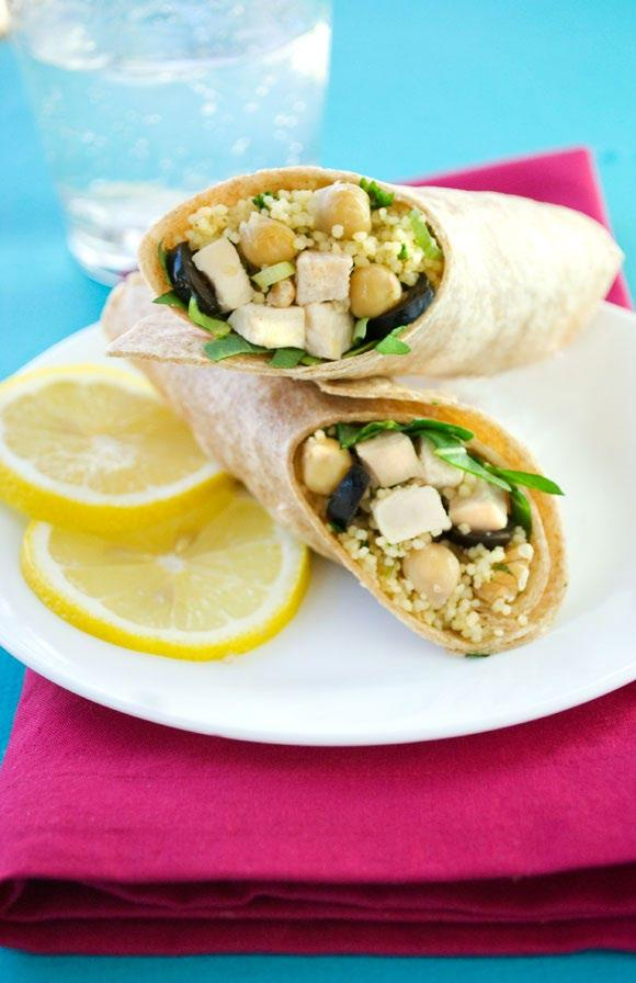 Chicken & Couscous Wrap Couscous, chickpeas and olives give this chicken wrap a healthy, flavorful boost. This recipe is a delicious lunch that fits into the Mediterranean diet.