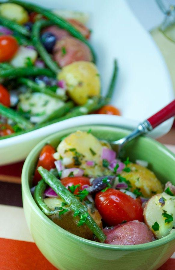 Potato & Green Bean Salad No need for mayo with this delicious potato salad. Potatoes, tomatoes and crisp green beans are tossed in a light white wine dressing.