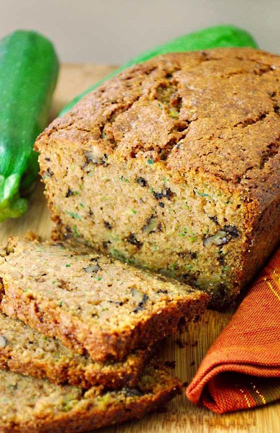 Zucchini Bread Instead of butter, this zucchini bread uses heart-healthy olive oil, essential to the Mediterranean diet. The bread is also packed with toasted walnuts and good-for-you zucchini.